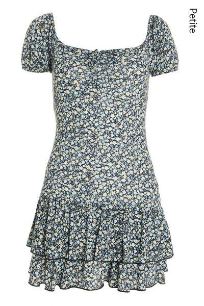 Petite Black Floral Mini Dress